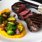 Rump steak s růžičkovou kapustou a dýňovým pyré