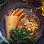 Steak shoubovou omáčkou a zeleninovými hranolky z M&S potravin